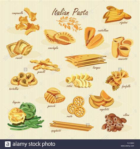 poster set of pasta with different types of pasta fusilli stock vector art illustration