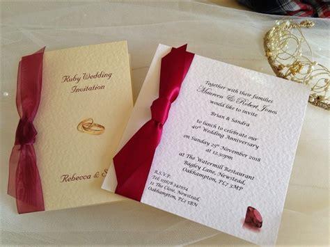 40th Ruby Wedding Anniversary Invitations