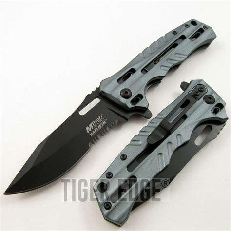 modern knives mtech futuristic grey black spring assist folding knife