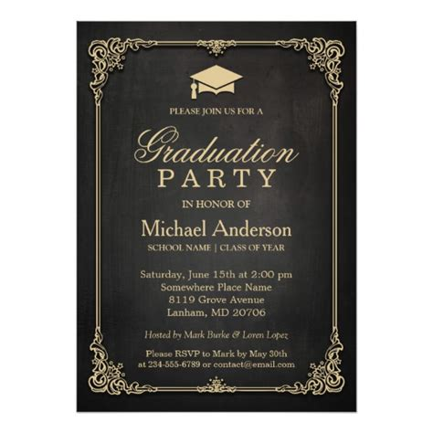 graduation invitations and announcements from elegant black gold vintage frame graduation party card