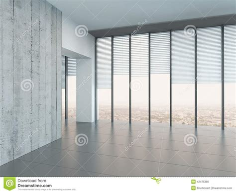 empty bright air room with a glass wall stock illustration