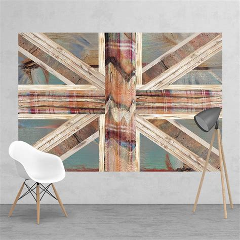 vintage shabby chic union jack flag feature wall wallpaper mural