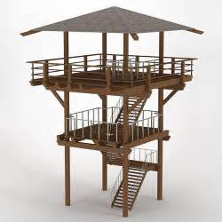 wood lookout tower 3d dxf