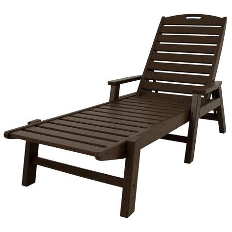 resin patio chaise lounge polywood nautical mahogany stackable patio chaise lounge ncc2280ma the home depot