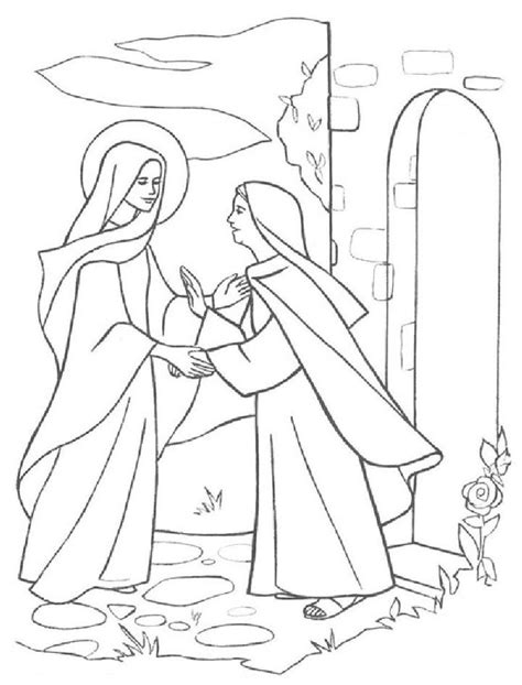 coloring pages elizabeth the visitation coloring page coloring home