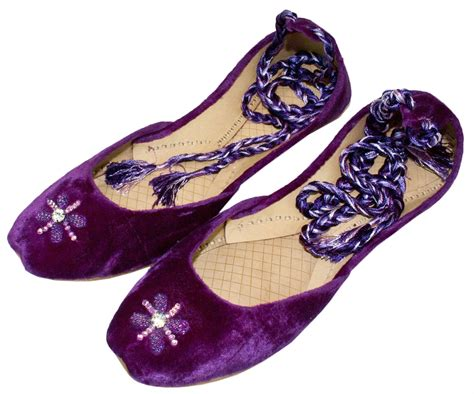 beaded khussa shoes womens purple beaded velvet ankle wrap indian leather