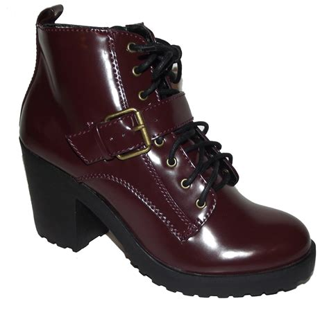 burgundy combat boots new burgundy wine lace up chunky heels combat