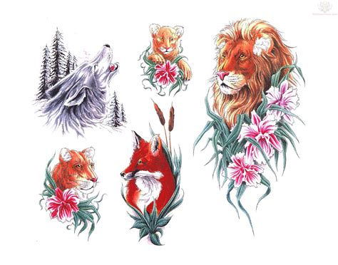 tiger and roses tattoo designs flowers leo wolf tiger and fox designs