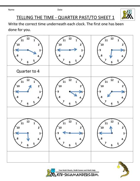 Clock Worksheets Quarter Past | clock worksheet quarter past and quarter to