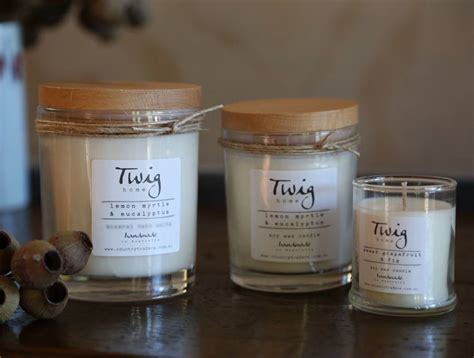 Handmade Wax Candles - twig made soy wax candle 60 hour burn time