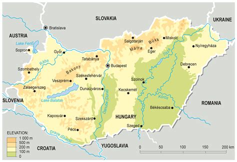europe elevation map large detailed elevation map of hungary hungary europe