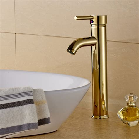 european style polished gold lavatory glass vessel vanity