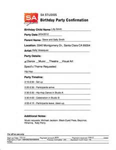 party agenda sample