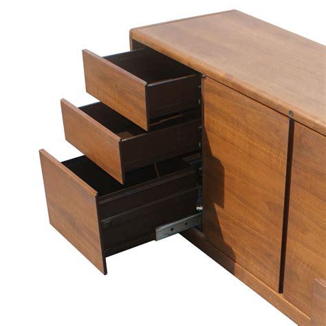 6ft vintage steelcase walnut credenza file cabinet ebay