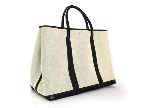 Hermes Garden Kanvas hermes grey canvas and black leather toile xl tgm garden tote bag at 1stdibs