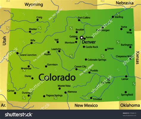 usa colorado map detailed vector map colorado state usa stock vector