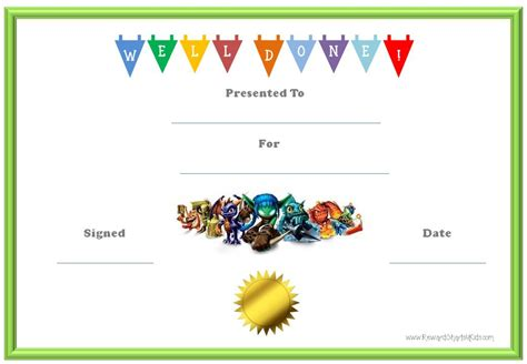reward certificate templates skylanders behavior charts and certificates