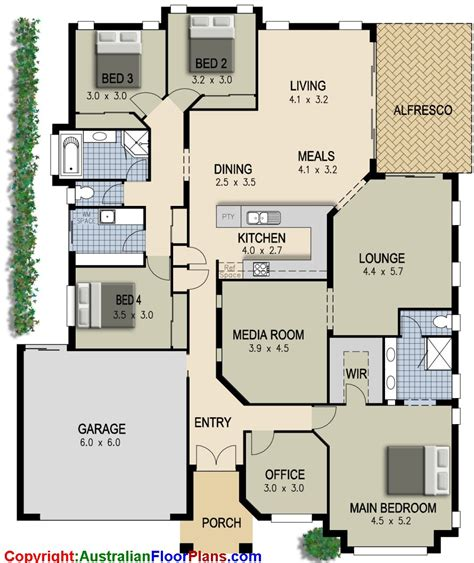 One Story House Plans With Two Master Suites by Australian House Plan 4 Bedroom Study Lounge Amp Media Room