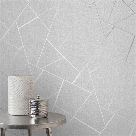 fine decor quartz silver metallic apex geometric wallpaper