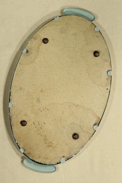 shabby chic vintage lace tray  robins egg blue metal frame vanity perfume tray