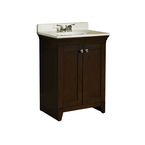 Lowes Bathroom Vanities With Tops Shop Allen Roth Sycamore Nutmeg Integral Single Sink Poplar Bathroom Vanity With Cultured