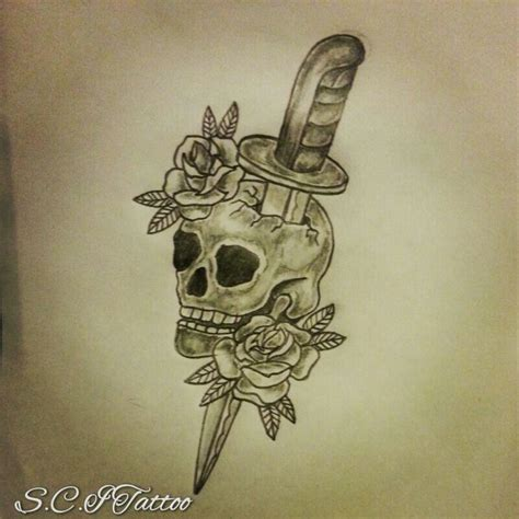 skull and dagger tattoo traditional skull dagger roses sketch by ranz