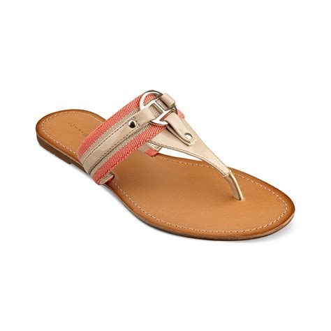 hilfiger flat shoes hilfiger lara tara flat sandals in gold sand