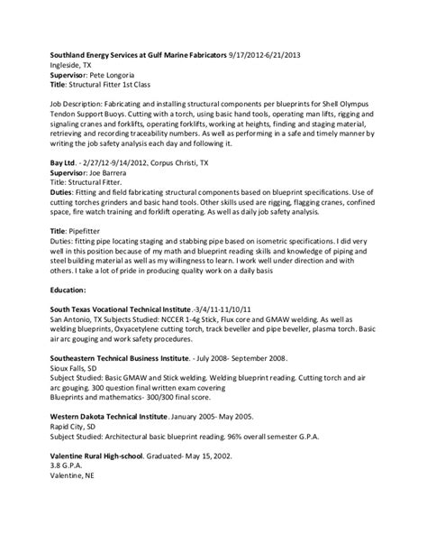 Pipefitter Resume Sle by Pipefitter Resume Sles 28 Images Pipefitter Resume Sles Free Excel Templates Description