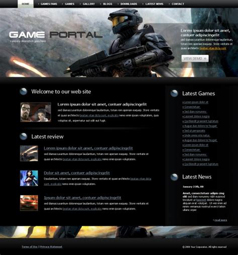 game website layout gun fire html template 4223 games fun website