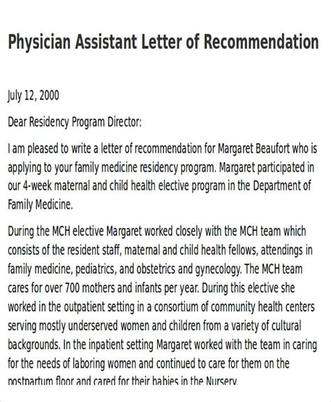 Recommendation Letter Pa School Sle Physician Letter Of Recommendation 7 Exles In Word Pdf