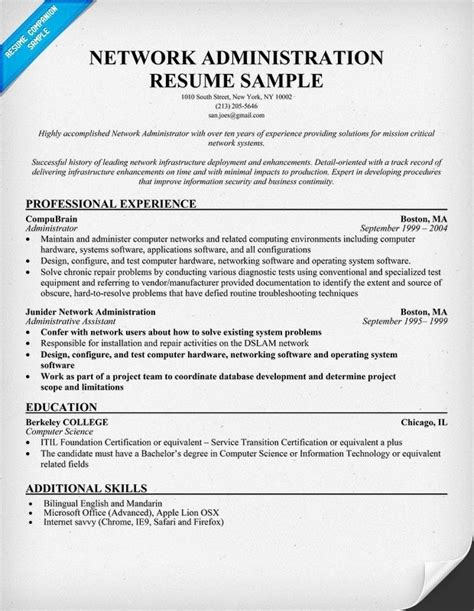 sle resume for network administrator sle resume for an entry level systems administrator