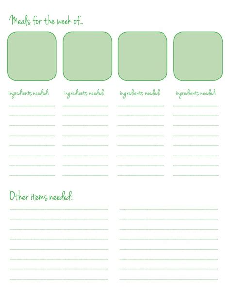 free printable meal planner template 5 best images of dinner 21 day fix weekly meal planner