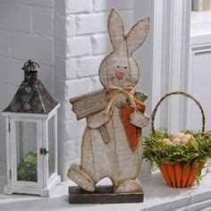 wood crafts large wooden standing bunny  carrots