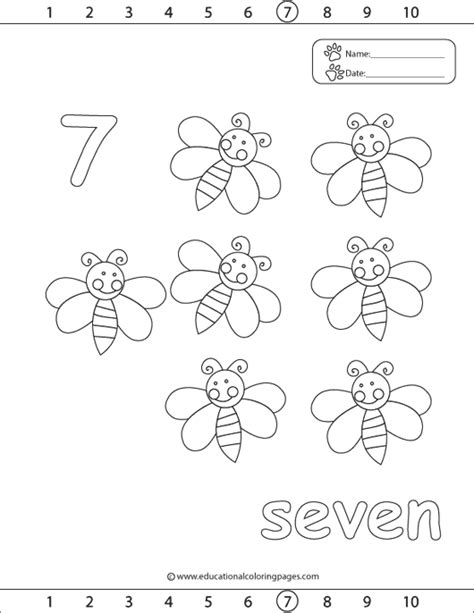 Number 7 Coloring Pages For Preschoolers by 123 Coloring Pages Educational Coloring Pages