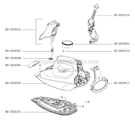 rowenta iron parts diagram rowenta dz5075u1 parts list and diagram