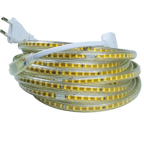 Lu Led 2835 220v 4 Meters Eu 220v led smd 2835 120led m white warm white waterproof ip65 led light with eu power