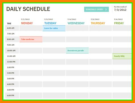 Excel Daily Schedule Template by Excel Daily Schedule Toreto Co