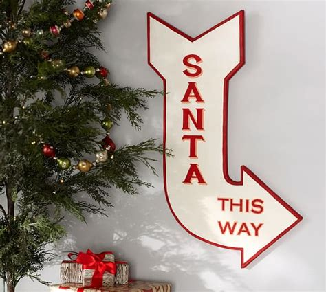 Dining Room Tables Pottery Barn santa this way sign wall art pottery barn