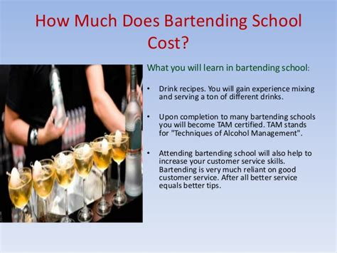 how much is school how much does bartending school cost