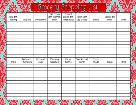 printable grocery list by aisle 8 best images of printable grocery list by aisle free