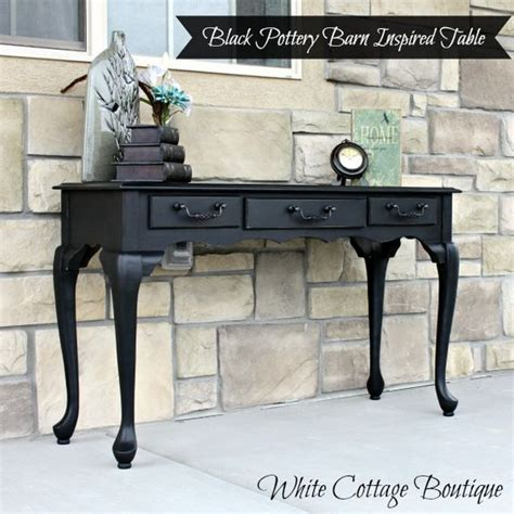 white cottage boutique black pottery barn inspired sofa table white cottage