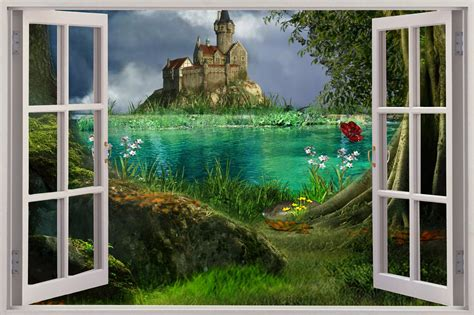 3d wall mural 3d window view enchanted castle wall sticker mural decal wallpaper ebay