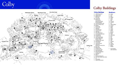colby college campus map  mayflower hill waterville