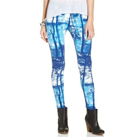 juniors patterned leggings material girl juniors printed leggings in blue blue combo