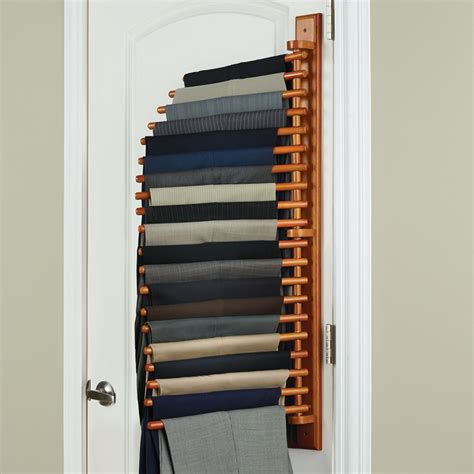 Pant Rack For Closet the closet organizing trouser rack hammacher schlemmer
