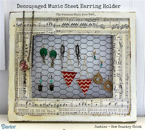 Handmade Earring Holder - earring holder diy decoupaged sheet frame