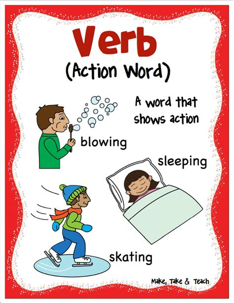 free printable adjective poster nouns verbs and adjectives make take teach