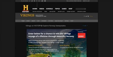 Daily Entry Sweepstakes - history com norwaysweeps vikings on history explore norway sweepstakes