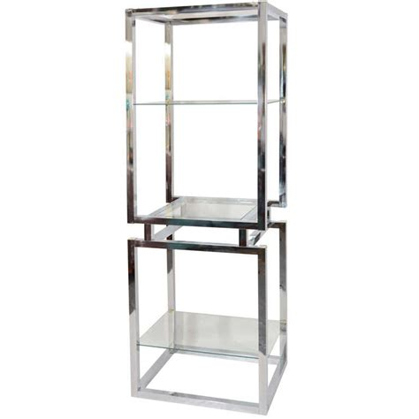 etagere 3 stöckig glas chrome and glass tower etagere at 1stdibs