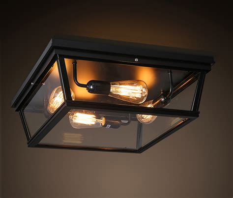 Led Ceiling Lights For Homes Nordic Modern Brief Loft Vintage Ameican Glass Box Square